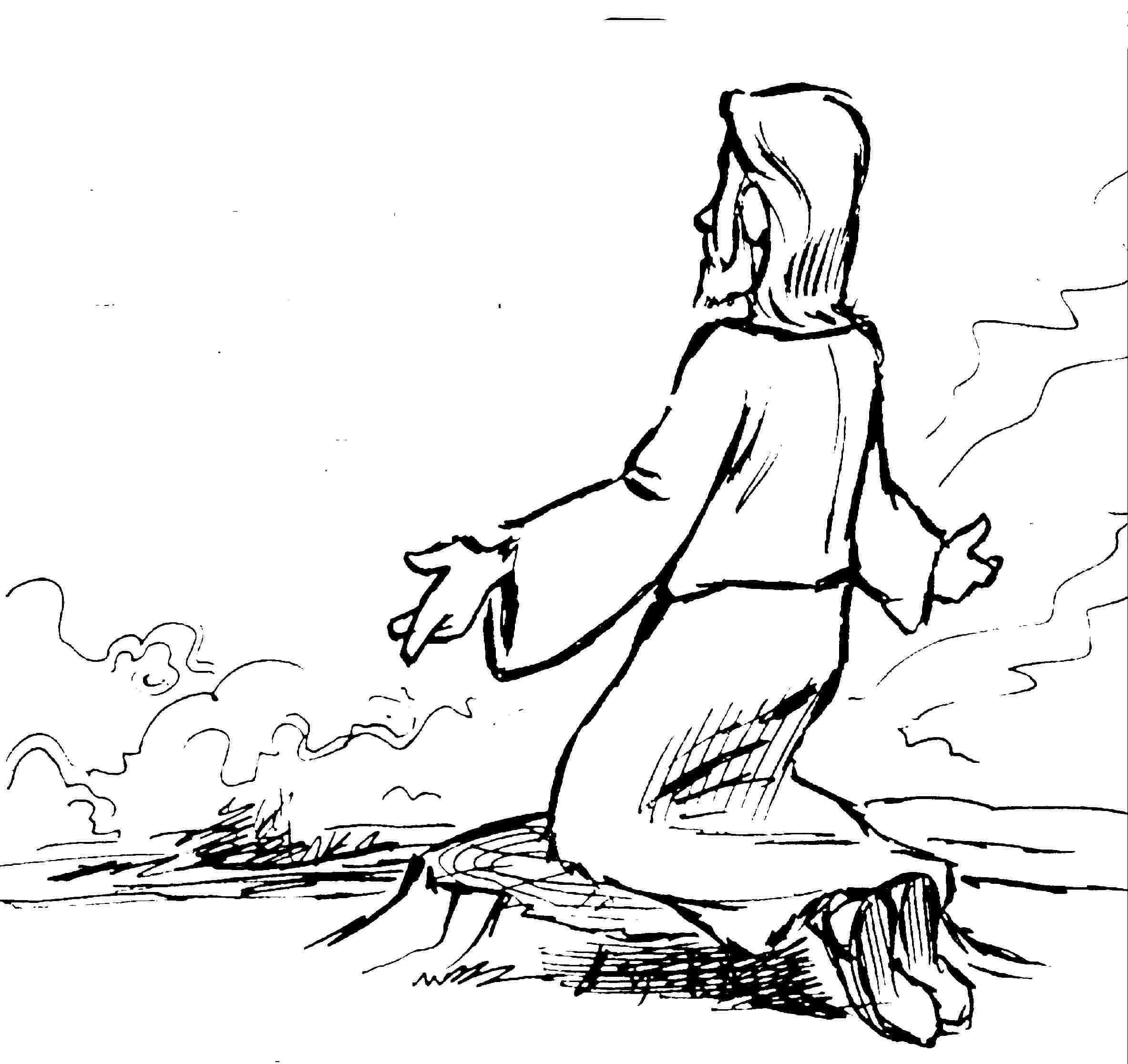 Atractivo Dibujos Para Colorear De Jesús Rezando En El Jardín ...
